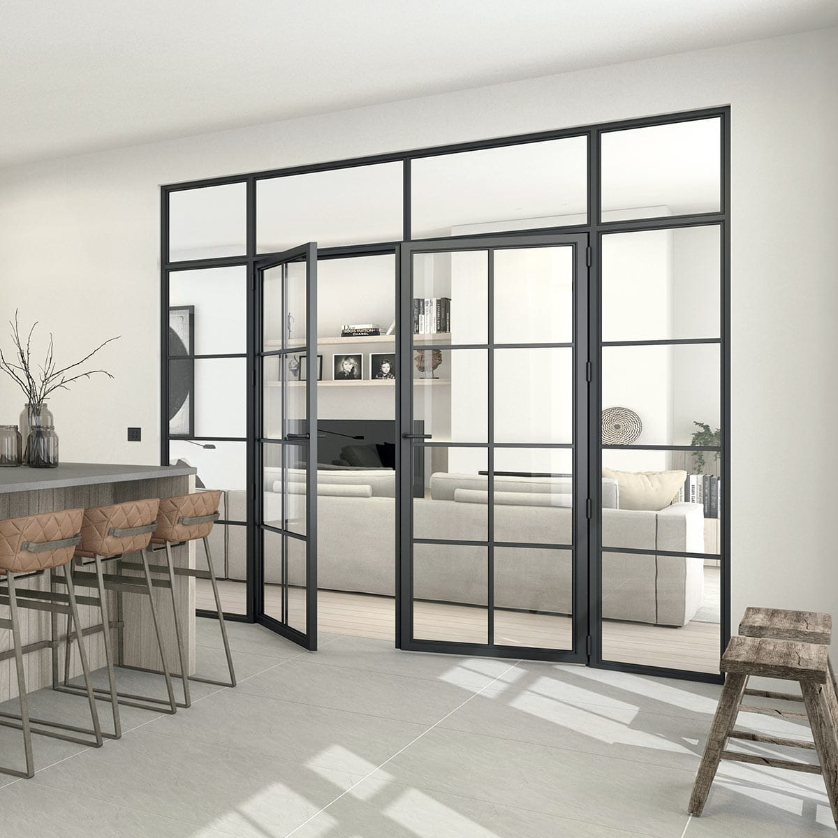 Modular steel door in irish kitchen