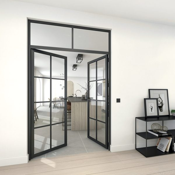 modular dteelit door with top window