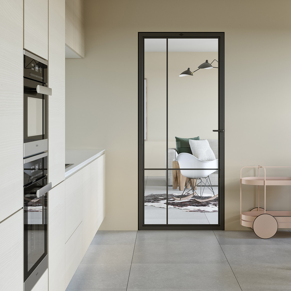 Modern steel frame door