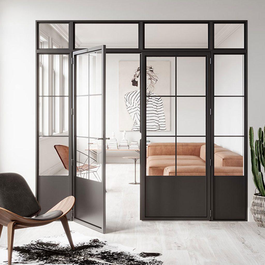 steel frame door in irish living area
